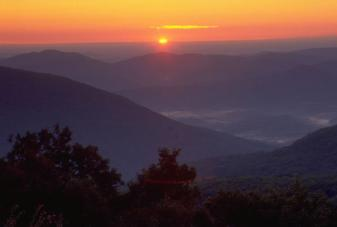 Views of the Blue Ridge Mountains.